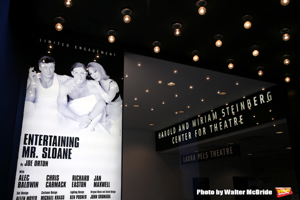The Opening Night Performance Theatre Poster Marquee of The Roundabout Theatre Company's Production of  ENTERTAINING MR. SLOANE at the Laura Pels Theatre in New York City..The Play stars Alec Baldwin, Chris Carmack, Richard Easton & Jan Maxwell..March 16,
