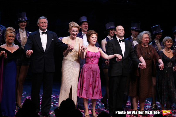 Elaine Paige, Ron Raines, Jan Maxwell, Bernadette Peters, Danny Burstein, Jayne Houdyshell, Susan Watson.during the Broadway Opening Night Curtain Call for 'Follies'  in New York City.