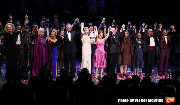 Mary Beth Peil, Terri White, Rosalind Eias. Elaine Paige, Ron Raines, Jan Maxwell, Bernadette Peters, Danny Burstein, Jayne Houdyshell, Susan Watson, Don Correia & Michael Hayes.during the Broadway Opening Night Curtain Call for 'Follies'  in New York Cit