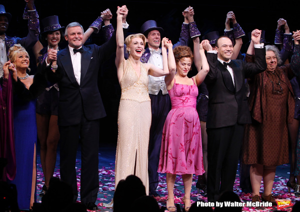 Elaine Paige, Ron Raines, Jan Maxwell, Bernadette Peters, Danny Burstein, Jayne Houdyshell.during the Broadway Opening Night Curtain Call for 'Follies'  in New York City.