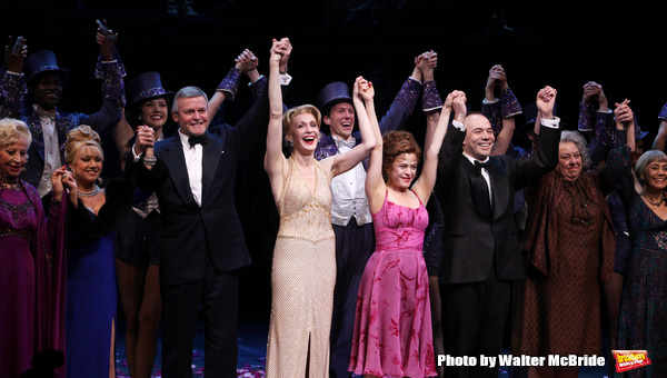 Rosalind Eias. Elaine Paige, Ron Raines, Jan Maxwell, Bernadette Peters, Danny Burstein, Jayne Houdyshell & Susan Watson.during the Broadway Opening Night Curtain Call for 'Follies'  in New York City.