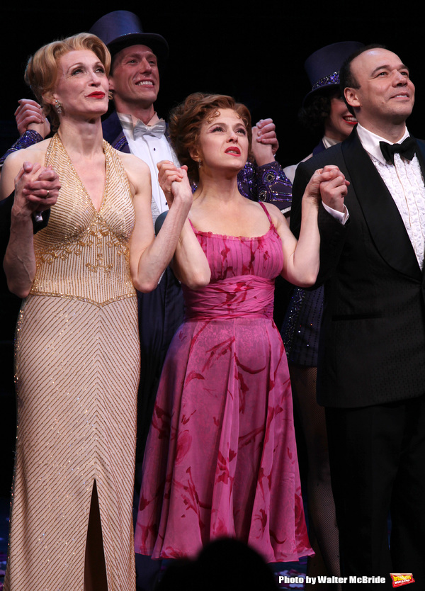 Jan Maxwell, Bernadette Peters & Danny Burstein during the Broadway Opening Night Curtain Call for 'Follies'  in New York City.