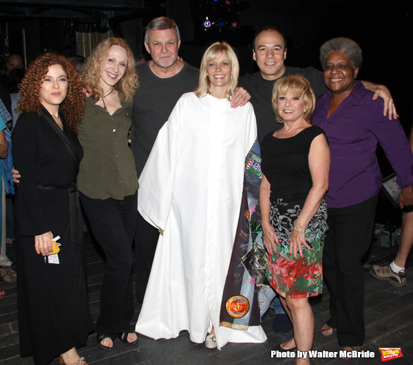 Jennifer Foote ('Follies') with Bernadette Peters, Jan Maxwell, Ron Raines Danny Burstein, Terri White & Elaine Paige.attending the Opening Night Gypsy Robe Ceremony for 'Follies' Recepient Jennifer Foote at the Marquis Theatre in New York City.