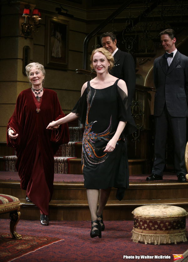 """Rosemary Harris & Jan Maxwell during the Manhattan Theatre Club's Productions Opening Night Curtain Call  for """"The Royal Family"""" at the Samuel J. Friedman Theatre in New York City. October 8, 2009"""