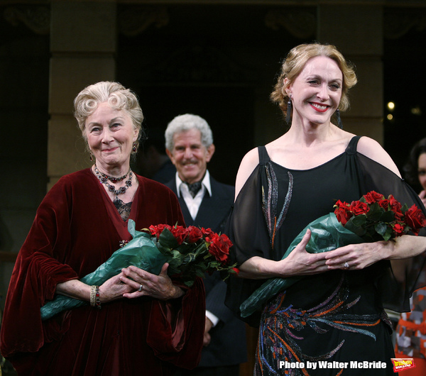 "Rosemary Harris, Tony Roberts & Jan Maxwell during the Manhattan Theatre Club's Productions Opening Night Curtain Call  for ""The Royal Family"" at the Samuel J. Friedman Theatre in New York City. October 8, 2009"