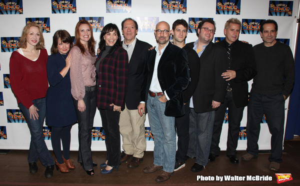 "Jan Maxwell, Mary Catherine Garrison, Jennifer Laura Thompson, Brooke Adams, Ken ludwig, Stanley Tucci,Justin Bartha,  Jay Klatiz, Anthony LaPaglia, Tony Shalhoub   attending the Meet & Greet for ""Lend Me A Tenor"" at the New 42nd Street Studios in New Yor"