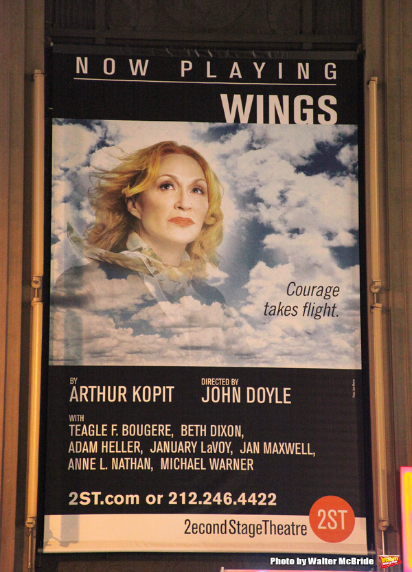 "Theatre Marquee for the Opening Night Performance of the Second Stage Theatre's Production of ""WINGS"" in New York City. October 24, 2010."