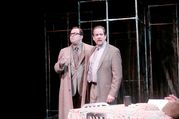 John Dunn as Aslaksen, and Thomas Prior as Dr. Stockmann Photo