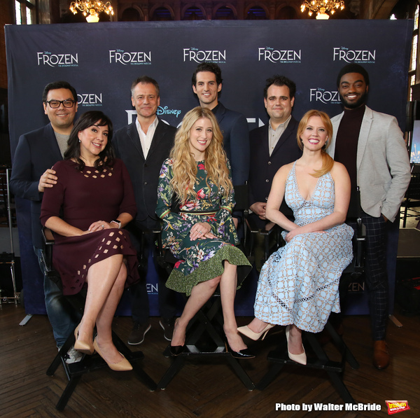 Robert Lopez, Kristen Anderson-Lopez, Michael Grandage, Caissie Levy, John Riddle, Greg Hildretn, Patti Murin and Jelani Alladin attends the press day for 'Frozen' The Broadway Musical on February 13, 2018 at the Highline Hotel in New York City.