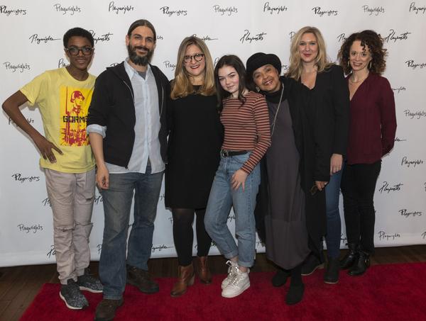 Full cast with Lindsey Ferrentino (center) and Rebecca Taichman (far right)