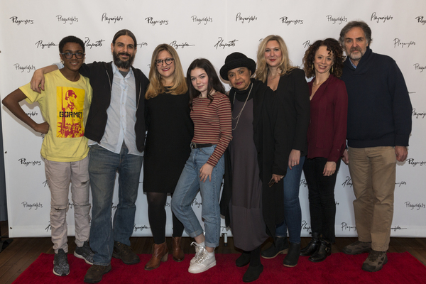 Full cast with Lindsey Ferrentino and Rebecca Taichman and Playwrights Horizons Artistic Diorector Tim Sanford