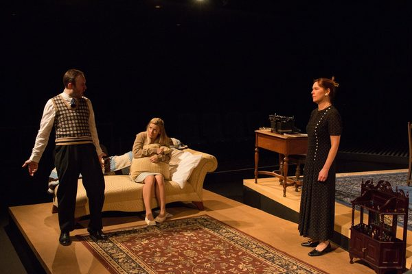 "(L to R) NICLAS OLSON (Tom), JESSICA WEAVER (Laura) and DAYNA CHILDS (Amanda)  from the Lakewood Playhouse Production of Tennessee Williams' ""THE GLASS MENAGERIE"""