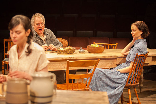 "(from left) Celeste Arias as Eléna, Jay O. Sanders as Ványa, and Yvonne Woods as Sónya Alexándrivna in Uncle Vanya, translated by Richard Pevear and Larissa Volokhonsky, directed and translated by Richard Nelson, running February 10 â€"" March 11, 2018"