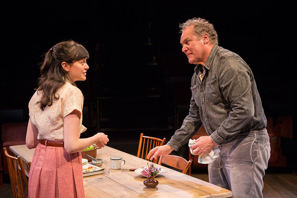 """Celeste Arias as Eléna and Jay O. Sanders as Ványa in Uncle Vanya, translated by Richard Pevear and Larissa Volokhonsky, directed and translated by Richard Nelson, running February 10 â€"""" March 11, 2018 at The Old Globe. Photo by Jim Cox."""