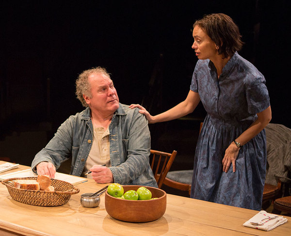 """Jay O. Sanders as Ványa and Yvonne Woods as Sónya Alexándrivna in Uncle Vanya, translated by Richard Pevear and Larissa Volokhonsky, directed and translated by Richard Nelson, running February 10 â€"""" March 11, 2018 at The Old Globe. Photo by Jim Cox."""