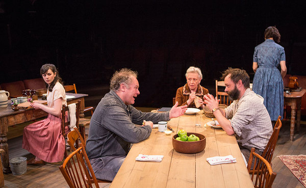 (from left) Celeste Arias as Eléna, Jay O. Sanders as Ványa, Roberta Maxwell as Márya, Jesse Pennington, and Yvonne Woods as Sónya in Uncle Vanya, translated by Richard Pevear and Larissa Volokhonsky, directed and translated by Richard Nelson, running