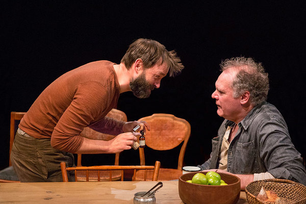 """(from left) Jesse Pennington as Ã�strov and Jay O. Sanders as Ványa in Uncle Vanya, translated by Richard Pevear and Larissa Volokhonsky, directed and translated by Richard Nelson, running February 10 â€"""" March 11, 2018 at The Old Globe. Photo by Jim Cox"""