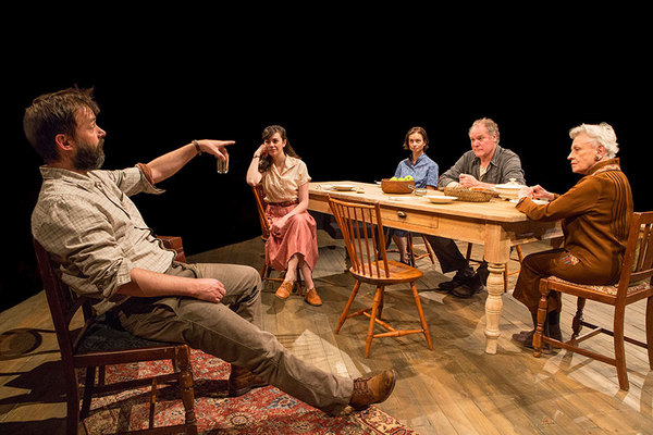 (from left) Jesse Pennington as Ástrov, Celeste Arias as Eléna, Yvonne Woods as Sónya, Jay O. Sanders as Ványa, and Roberta Maxwell as Márya in Uncle Vanya, translated by Richard Pevear and Larissa Volokhonsky, directed and translated by Richard Nels