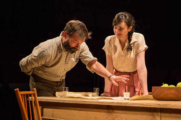 """Jesse Pennington as Ã�strov and Celeste Arias as Eléna in Uncle Vanya, translated by Richard Pevear and Larissa Volokhonsky, directed and translated by Richard Nelson, running February 10 â€"""" March 11, 2018 at The Old Globe. Photo by Jim Cox."""