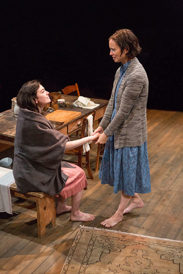 """(from left) Celeste Arias as Eléna and Yvonne Woods in Uncle Vanya, translated by Richard Pevear and Larissa Volokhonsky, directed and translated by Richard Nelson, running February 10 â€"""" March 11, 2018 at The Old Globe. Photo by Jim Cox."""