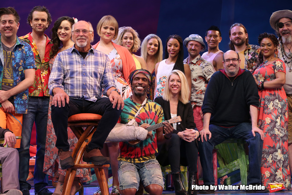 Jimmy Buffett, Kelly Devine and Christopher Ashley with cast
