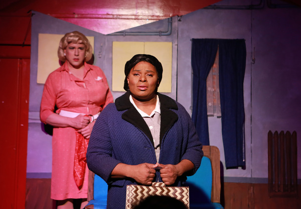 (front to back) Robert Williams and Ed Jones in Hell in a Handbag Production' 2013 production of L'IMITATION OF LIFE, returning for Handbag's 2018 season. Photo by Rick Aguilar Studios.