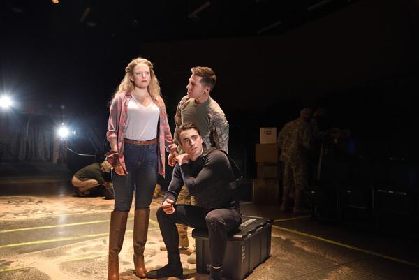 Rebecca Gibel as Desdemona, Charlie Thurston as Cassio, and Stephen Thorne as Iago
