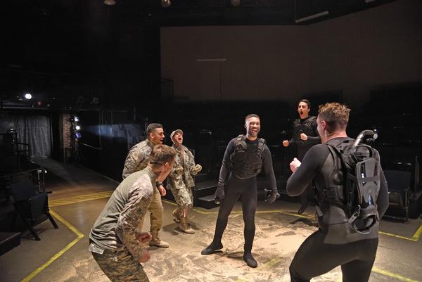 Stephen Thorne as Iago, Ryan Broussard as Montano, Daniel Duque-Estrada as Lodovico, Jude Sandy as Othello, Brendan D. Hickey as ensemble and Charlie Thurston as Cassio