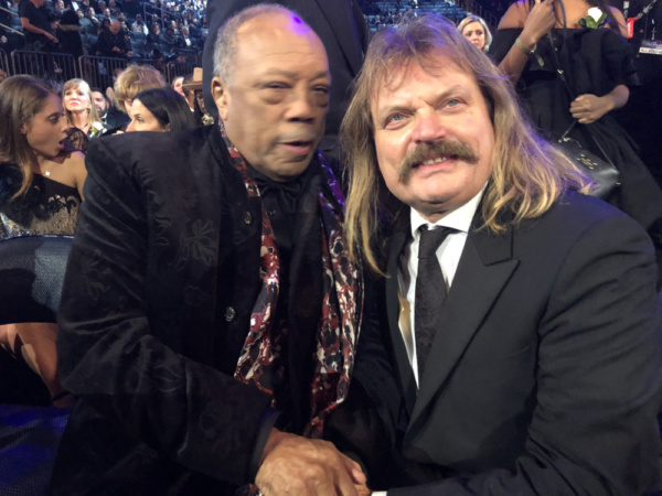 Multi-Grammy winning producer and music industry giant, Quincy Jones, raps with Hungarian-German producer/singer-songwriter Leslie Mandoki at the 2018 Grammy Awards in NYC.