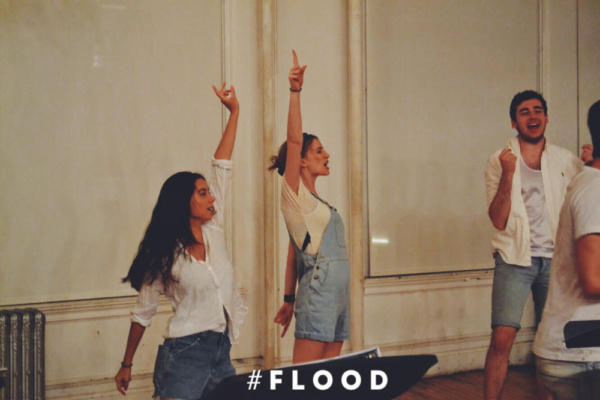 Hannah Bailey, Maddison Ridley and Nick Newling in the staged reading of the Australian play, FLOOD by Chris Isaacs