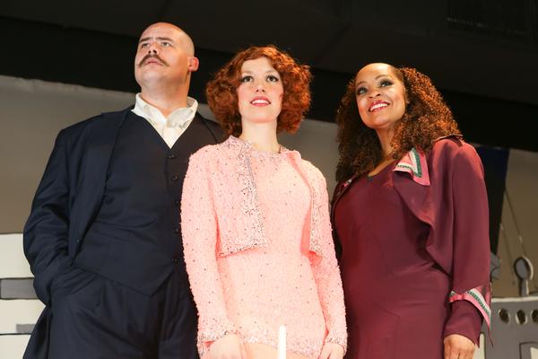 Zachary Allen Farmer as Sir Evelyn Oakleigh, Eileen Engel as Hope Harcourt, and Kimmi Photo