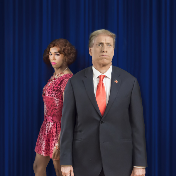 (L to R):  Charles Peoples III as Ruby and John Fisher as Donald Trump in the Theatre Photo