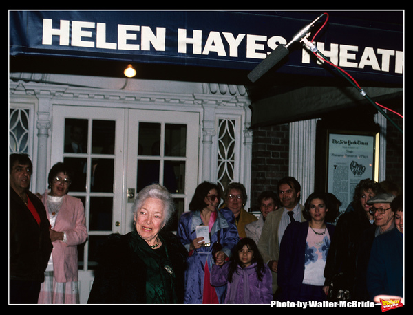 Helen Hayes pictured in New York City at the reopening of the Helen Hayes Theatre on May 1, 1988.