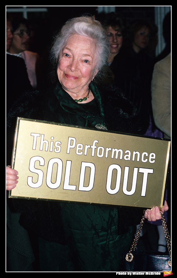Helen Hayes pictured at the Helen Hayes Theatre in New York City on May 1, 1988.