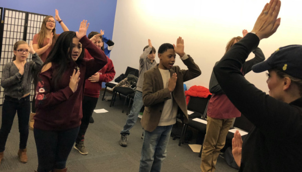 Actors Connection Kids & Teens learn part of the opening number from SpongeBob Squarepants the Musical with Broadway Cast Member Gaelen Gilliland.