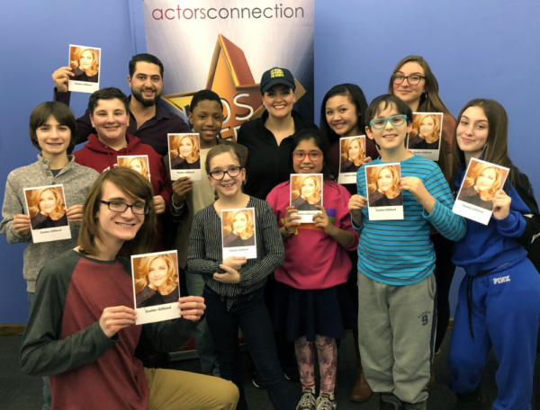Kids and Teens are all smiles with Broadways Gaelen Gilliland and Director Walid Chaya at Actors Connection.
