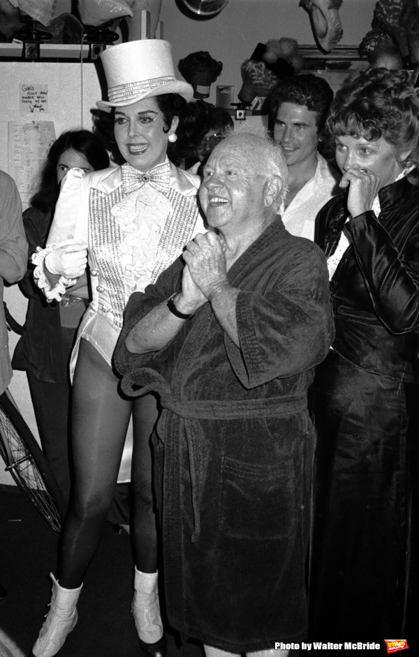 Ann Miller and Mickey Rooney with his wife Jan Chamberlain backstage after a Performance in 'Sugar Babies' at the Mark Hellinger Theatre, New York City. June 1980