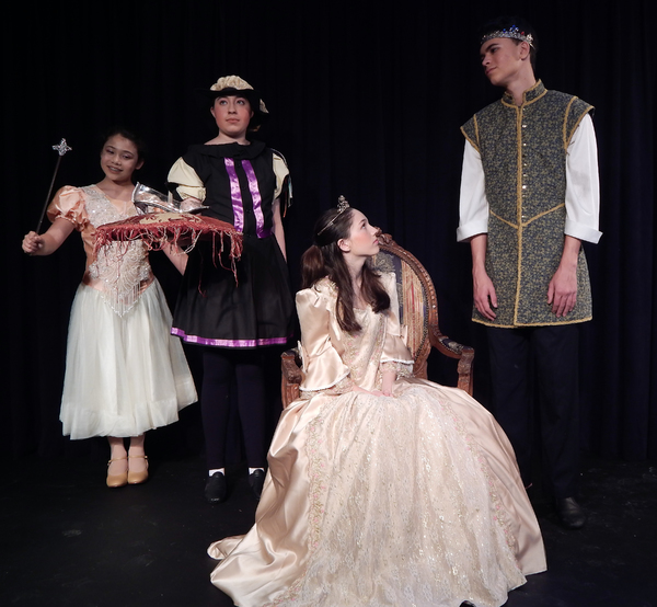 (From left to right) Emily Singer (Godmother), Monique Whitfield (Steward), Kimmy Wilkinson (The Queen), and Trevor Whitfield (The Prince).