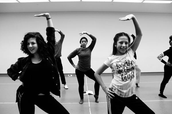Co-dance captains Nicole Sartor and Mariana Herrera Jury review the steps