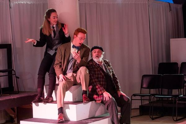 Gabby McCauley as Fabian, Richie Whitehead as Sir Andrew, and Tom Gleadow as Sir Toby Belch