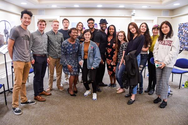 Keenan Scott II Taye Diggs and Students from Syracuse University
