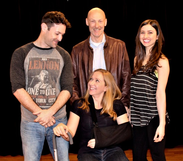 The cast of Time Stands Still in rehearsal. Timothy Weinert, Malcolm Stephenson, Connie Castanzo and Maggie Alexander.
