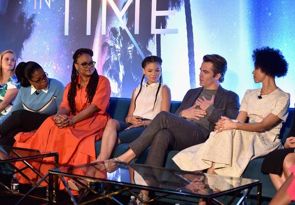 Reese Witherspoon; Oprah Winfrey; Ava DuVernay; Storm Reid; Chris Pine; Gugu Mbatha-R Photo