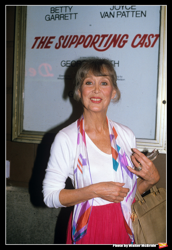 Betty Garrett outside the Biltmore Theatre after a performance of 'The Supporti Photo