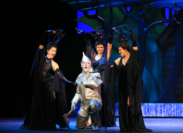 Tin Man (Christopher Russell) and the apple trees (Catherine Skojec, Kelsey Schergen, Eileen Janesz) in the forest