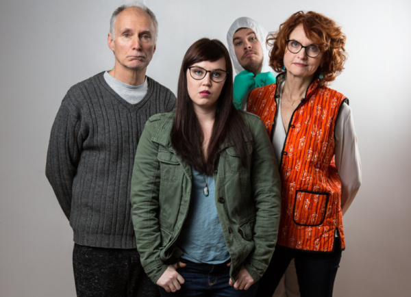 L-R: Jeff Hayenga (Hal), Lisa Jill Anderson (Moon), Ian Poake (The Bug Man), and Candy Buckley in HAL & BEE. Photo by Hunter Canning
