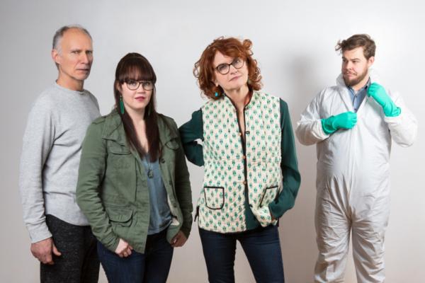 L-R: Jeff Hayenga (Hal), Lisa Jill Anderson (Moon), Candy Buckley (Bee), and Ian Poake (The Bug Man) in HAL & BEE. Photo by Hunter Canning