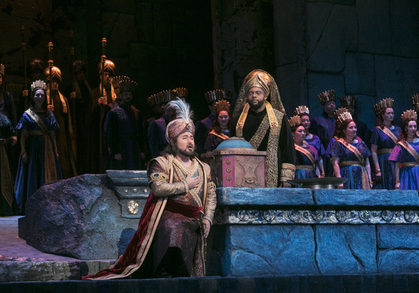 "Javier Camarena as Idreno and Ryan Speedo Green as Oroe in Rossini's ""Semiramide."""