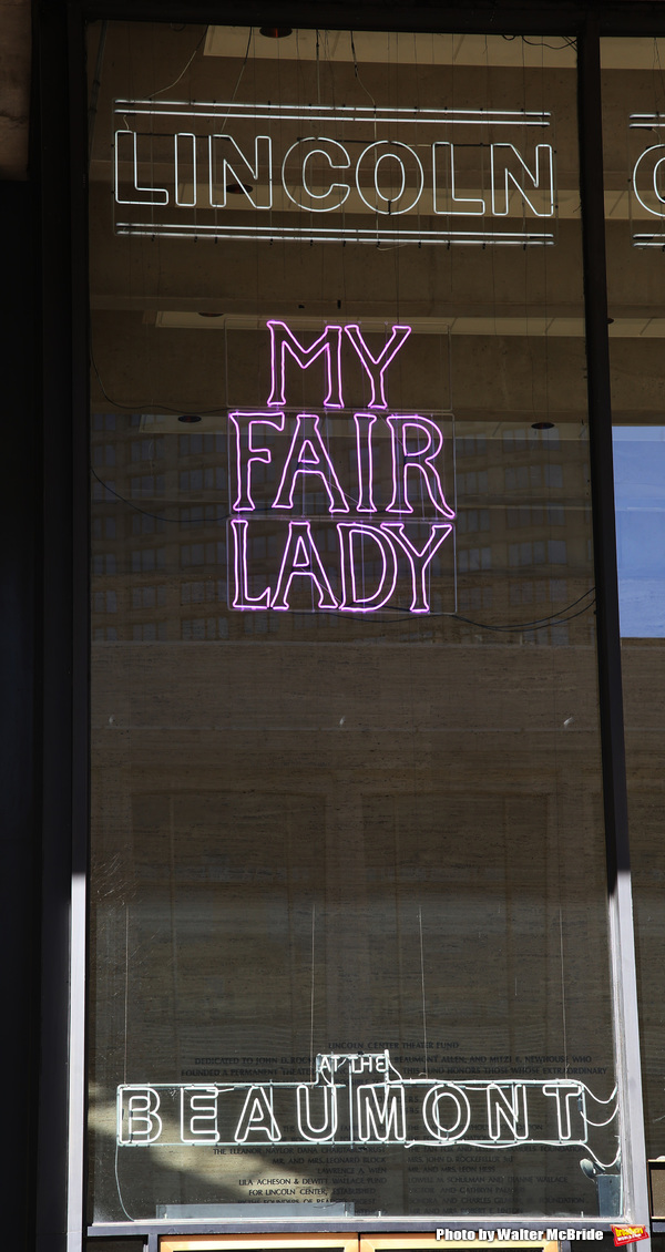 """Theatre Marquee unveiling for the Lincoln Center Theater production of """"My Fair Lady"""" starring Manu Narayan, Lauren Ambrose, Harry Hadden-Paton, Norbert Leo Butz, Diana Rigg, Allan Corduner, Jordan Donica and Linda Mugleston under the direction of Bartlet"""