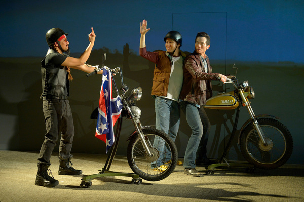 Quang (James Seol, right) and Nhan (Stephen Hu, center) get into an altercation with a redneck American biker (Jomar Tagatac, left)